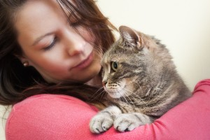 Young woman holding European shorthair cat