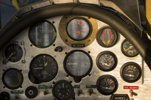 Control panel of an airplane cockpit
